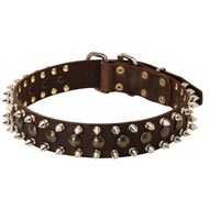 3 Rows Leather Spiked and Studded Boxer Collar