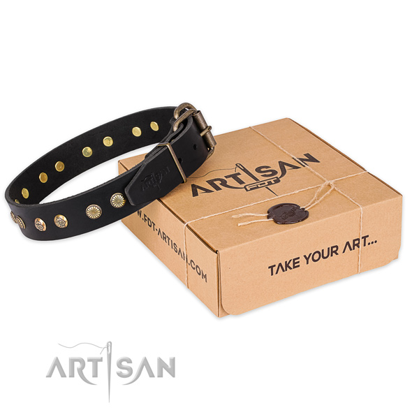 Corrosion resistant hardware on full grain leather collar for your handsome canine