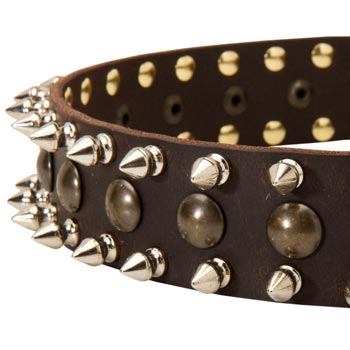 Boxer Leather Collar with Hand Set Spikes
