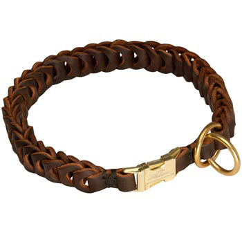 Boxer Leather Collar Braided Design
