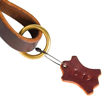 Leather Pull Tab for Boxer with O-ring for Leash Attachment