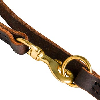 Boxer Leather Leash with Brass Snap Hook and O-ring