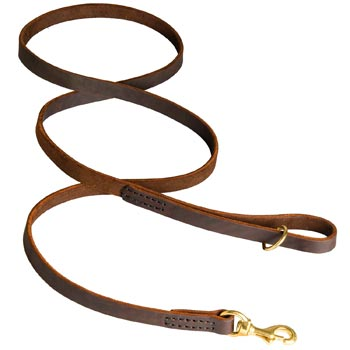Classic Stitched Leather Boxer Leash